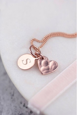 Personalised Rose Heart Necklace by Oh So Cherished