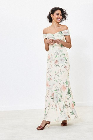Oasis Natural Bardot Bridesmaid Dress