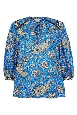Monsoon Blue Paisley Print Top