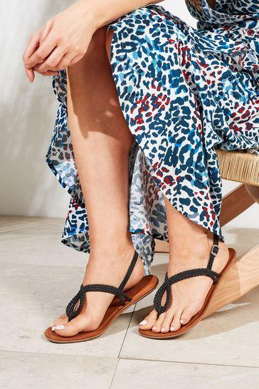Black Regular/Wide Fit Forever Comfort® Double Plait Toe Thong Sandals