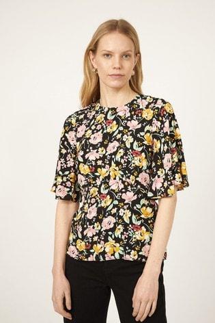 Warehouse Black Floral Angel Sleeve Top