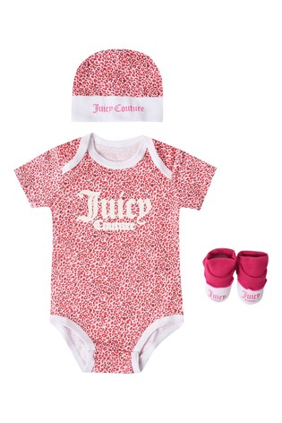 Juicy Couture Leopard 3 Piece Bodysuit, Bootie & Hat Set