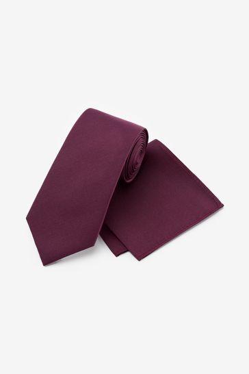 Burgundy Wide Silk Tie And Pocket Square Set