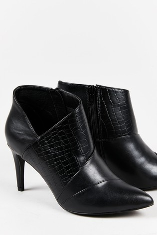Wallis Willoughby Black Mix Panel Shoe Boots
