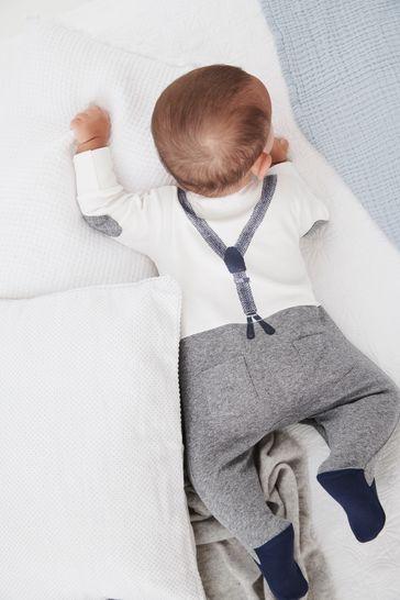 Grey/White Smart Dress Up Sleepsuit (0mths-2yrs)