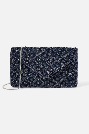 Accessorize Navy Tabitha Embellished Clutch