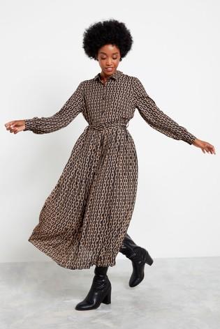 F&F Black Chain Print Shirt Dress