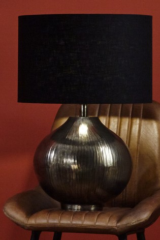 Solent Antique Silver Textured Metal Table Lamp by Pacific