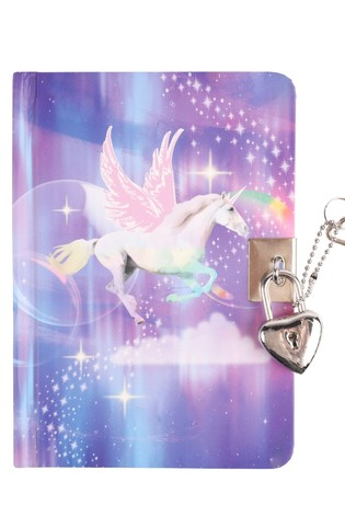 2 Pack Paperchase Unicorn Charm Lock Journal Set