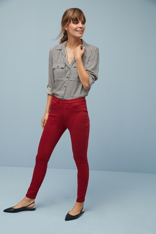 Dark Red Jersey Denim Leggings