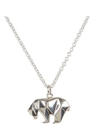 Oliver Bonas Sterling Silver Origami Polar Bear Pendant Necklace