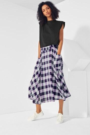 Label Gingham Midi Skirt