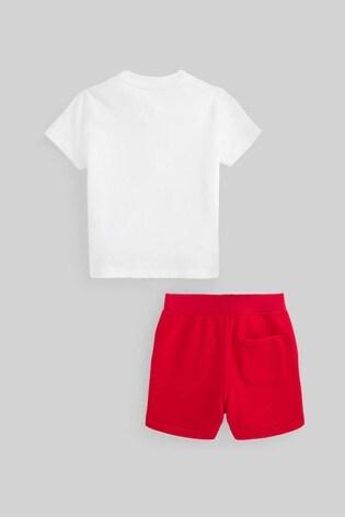Ralph Lauren White Bear T-Shirt And Red Shorts Set