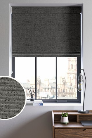 Textured Chenille Charcoal Made To Measure Roman Blind