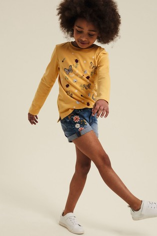 FatFace Blue Embroidered Denim Shorts