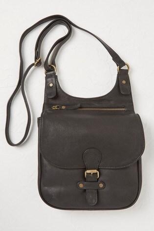 FatFace Black Anna Oiled Leather Cross Body Bag