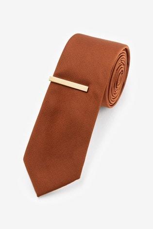 Rust Twill Tie And Tie Clip Set