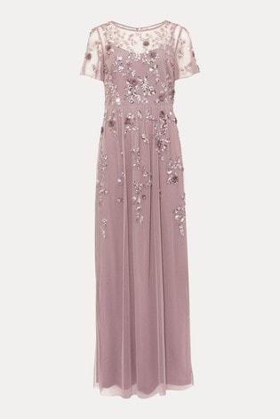 Phase Eight Purple Shirin Embellished Maxi Dress