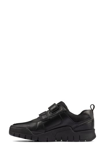 Clarks Black Leather Scooter Speed KIds Shoes