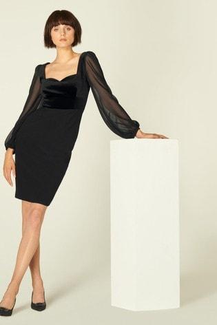 L.K.Bennett Black Scarlett Velvet Mix Evening Dress