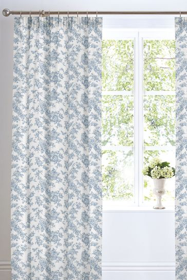 Malton Floral Toile Thermal Lined Pencil Pleat Curtains by D&D