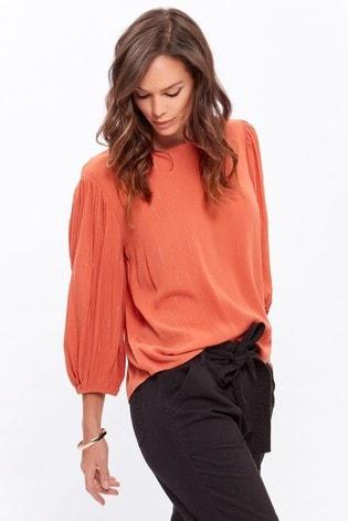 M&Co Orange Plain Crinkle Metallic Top