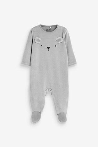Grey Bear Velour Sleepsuit (0mths-2yrs)