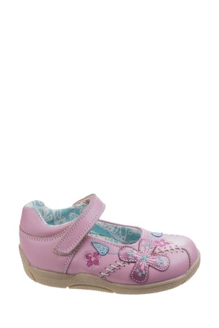 Hush Puppies Pink Millie Touch Fastening Shoes