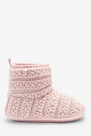 Pink Knitted Slipper Boots