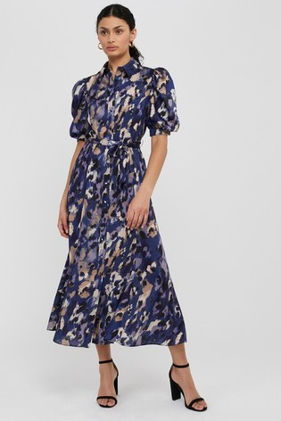 Monsoon Blue Libby Animal Print Shirt Dress