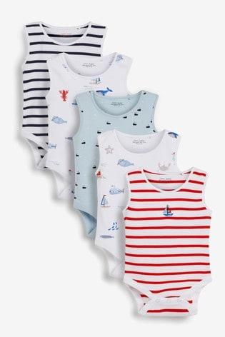 Blue Boats 5 Pack Vest Bodysuits (0mths-3yrs)