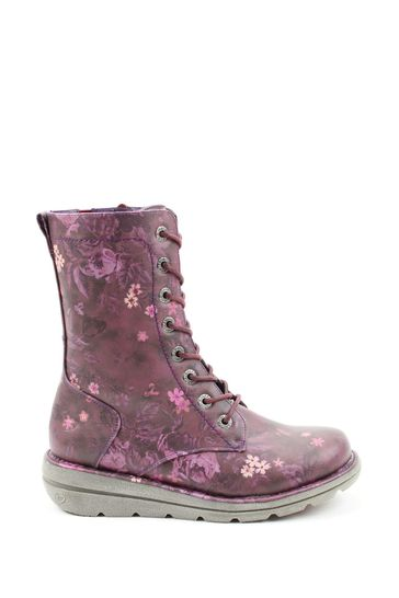 Heavenly Feet Purple Ladies Lace-Up Low-Calf Ankle Boots
