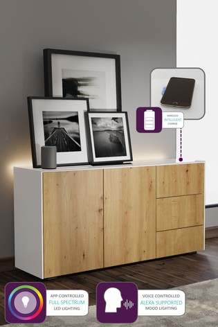 Frank Olsen Smart LED White and Oak Sideboard
