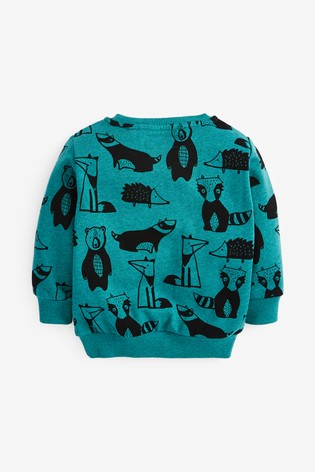 Teal Woodland Crew All Over Print Jersey (3mths-7yrs)