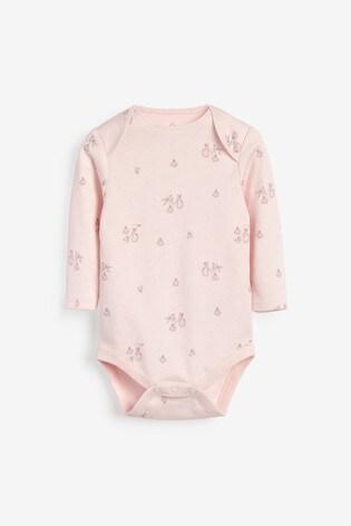 Pink 4 Pack GOTS Organic Bunny Long Sleeve Bodysuits (0mths-3yrs)