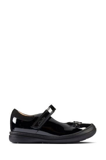 Clarks Black Patent Scooter Jump Toddlers Shoes