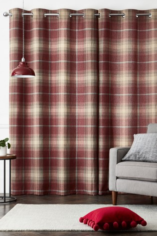 Stirling Check Eyelet Super Thermal Curtains