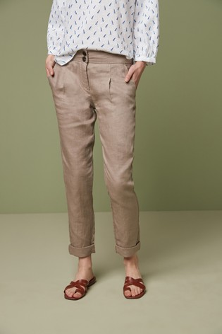 Taupe 100% Linen Taper Trousers