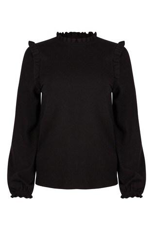 Oliver Bonas Black Frill Detail Knitted Jumper
