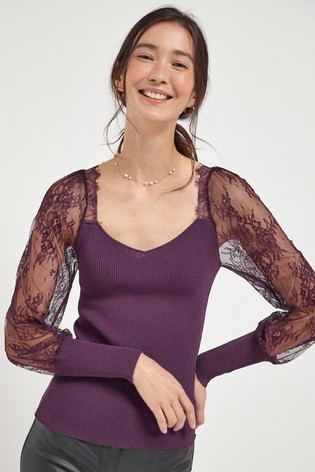 Berry Lace Sleeve Top