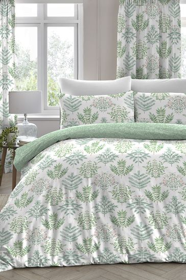 D&D Green Emily Fern Duvet Cover and Pillowcase Set