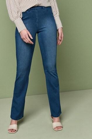 Dark Blue Jersey Denim Boot Cut Jeans