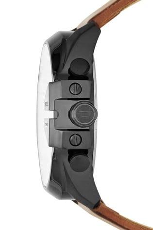 Diesel® Leather Mega Chief Watch