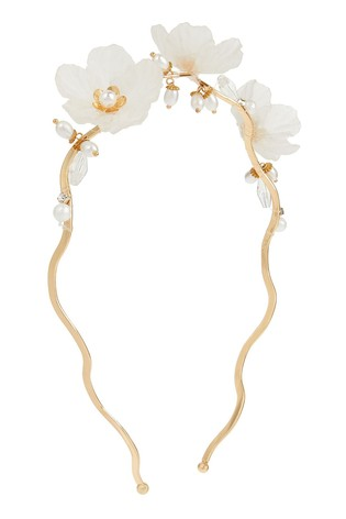 Monsoon Gold Frosted Flower Cluster Aliceband