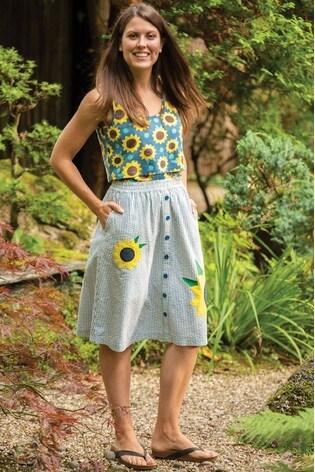 Frugi GOTS Organic Sunflower Appliqué Skirt