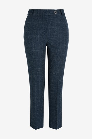 Navy Texture Slim Trousers