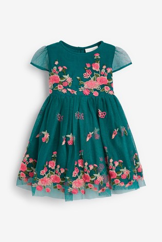 Teal Embroidered Occasion Dress (0mths-2yrs)
