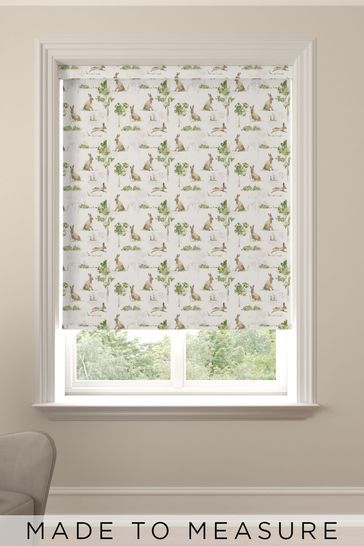 Wildlife Hare Green Made To Measure Roller Blind