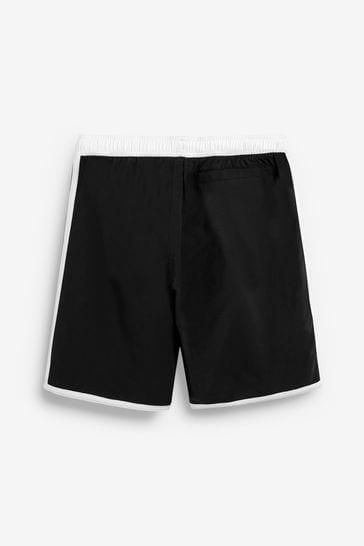 adidas Black/White 3 Stripe Swim Shorts