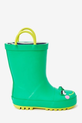 Green Frog Handle Wellies (Younger)